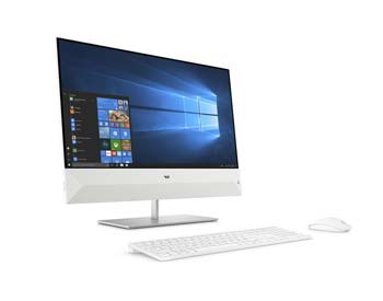 HP Pavilion All-in-one PC, white in colour.