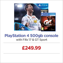Playstation 4 500gb console with Fifa 17 & GT Sport